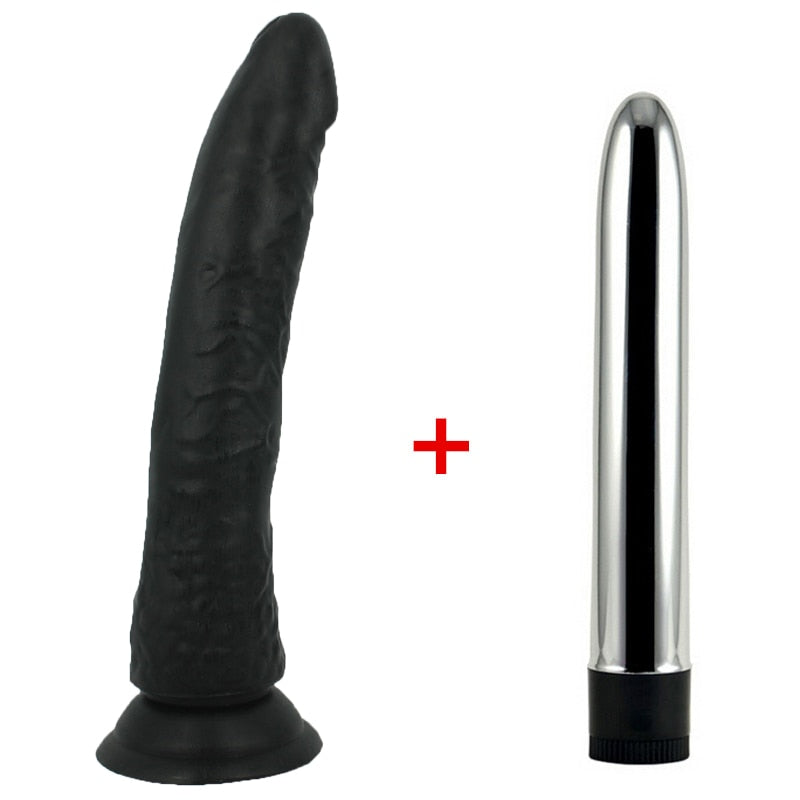 Big Black Realistic Dildo With Suction Cup And Multi-Speed Vibrator