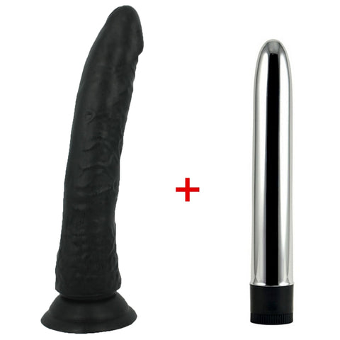 Image of Big Black Realistic Dildo With Suction Cup And Multi-Speed Vibrator