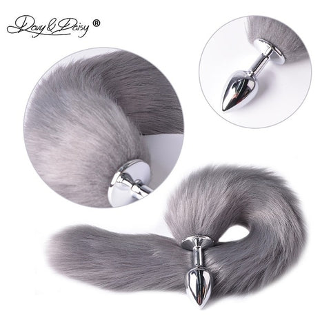 Image of Faux Fox Tail Stainless Steel Anal Plug For Erotic Cosplay Fantasy