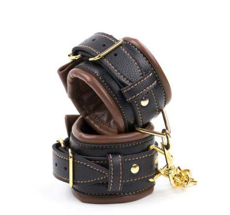 Image of Retro Leather Adjustable Restraint Handcuffs And Ankle Cuff