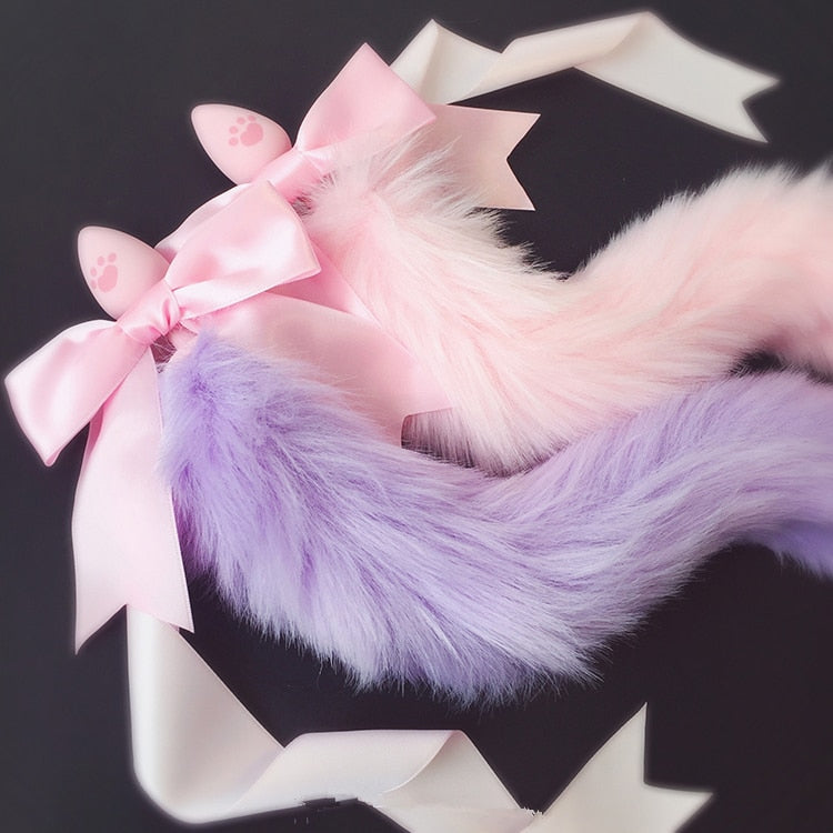 100% Handmade Japanese Soft Fox Tail Silicone Butt Plug With Bow Tie