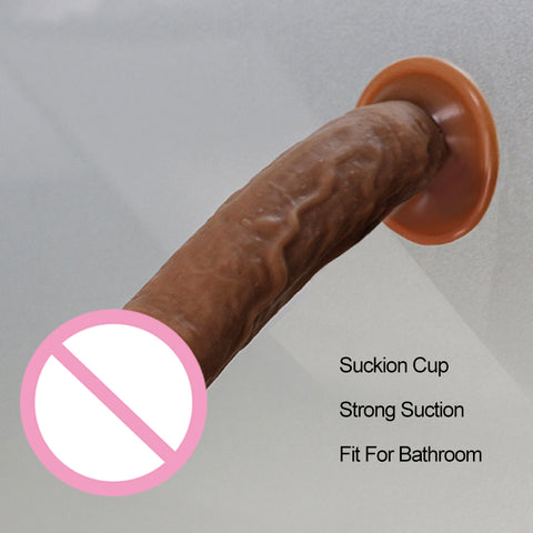 Soft Brown Lifelike Dildo With Suction Cup