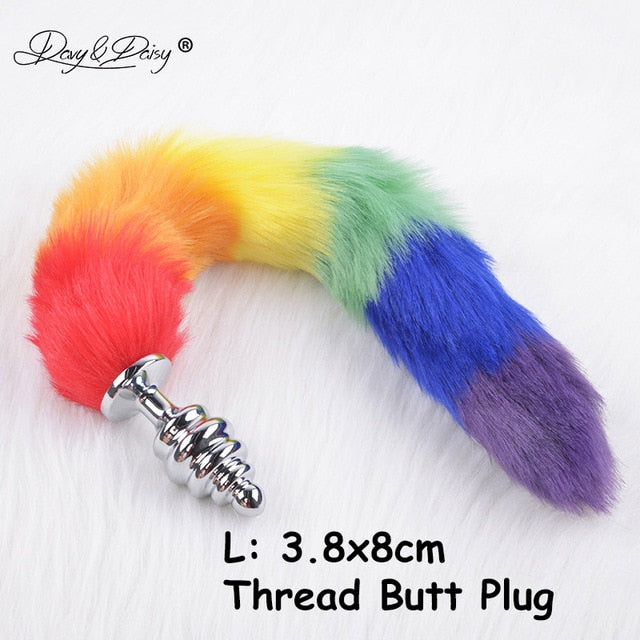 Rainbow Faux Fox Tail With Stainless Steel Tip