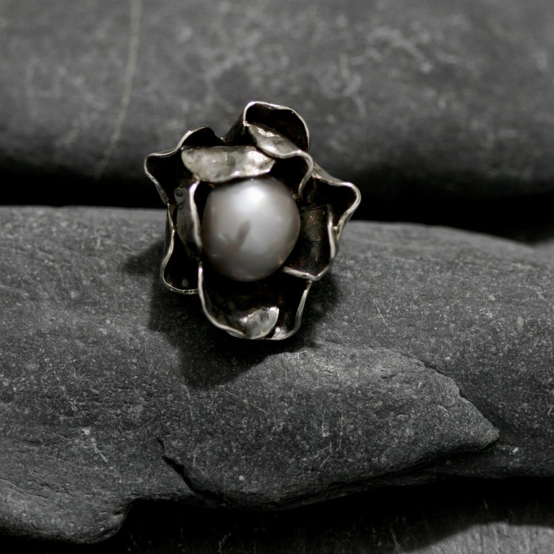 Rambling Rose & Pearl Ring