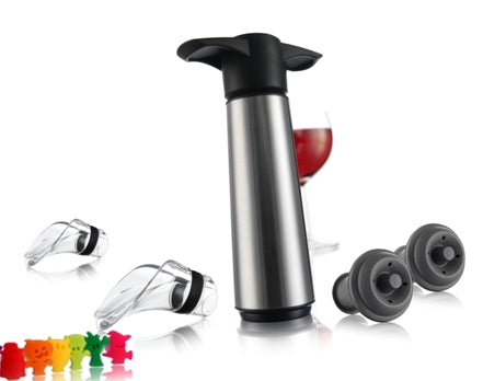 Vacu Vin Stainless Steel Wine Saver Pump With 2 Stoppers & 2 Crystal Wine Servers