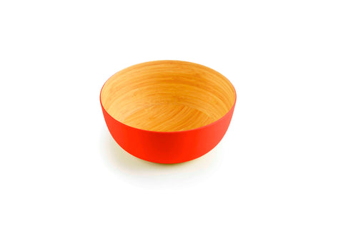 Brilliant - Orange/Papaya Colored Bamboo Bowl 9 inches