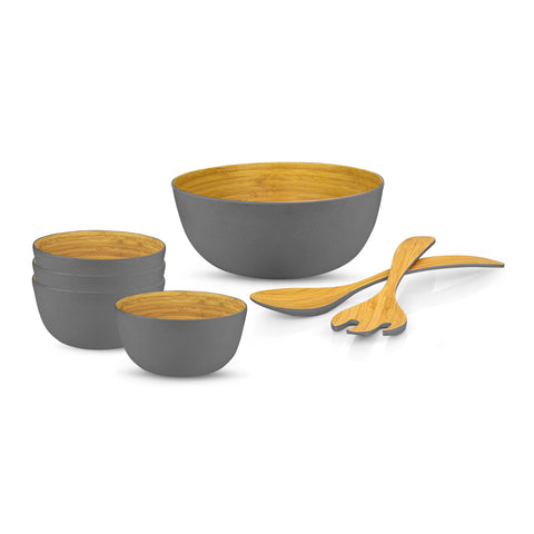 Brilliant - Grey Colored Bamboo 7 Piece Salad Set
