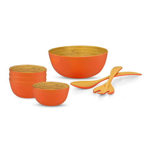Brilliant - Orange/Papaya Colored Bamboo 7 Piece Salad Set