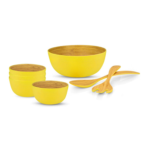 Brilliant - Yellow Colored Bamboo 7 Piece Salad Set