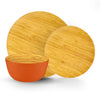 Brilliant - Orange/Papaya Colored Bamboo Dinnerware Set, 12 Piece Set Service for 4