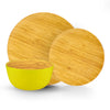 Brilliant - Yellow Colored Bamboo Dinnerware Set, 12 Piece Set Service for 4