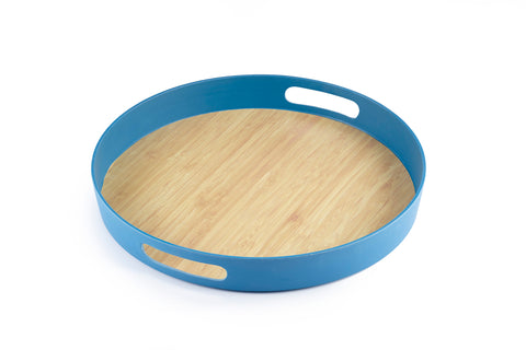Image of Brilliant - Dark Blue Colored Bamboo Round Serving Tray, 11.5 inches