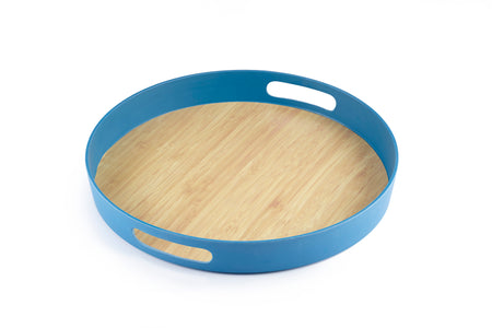 Brilliant - Dark Blue Colored Bamboo Round Serving Tray, 11.5 inches