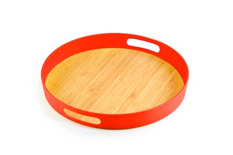 Image of Brilliant - Orange/Papaya Colored Bamboo Round Serving Tray, 11.5 inches