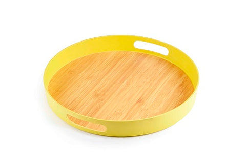 Image of Brilliant - Yellow Colored Bamboo Round Serving Tray, 11.5 inches