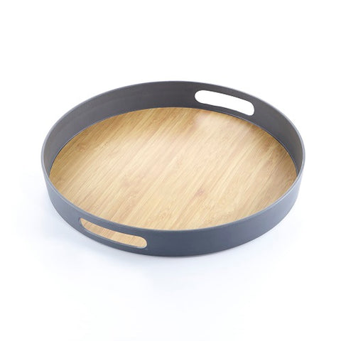 Image of Brilliant - Grey Colored Bamboo Round Serving Tray, 15 inches
