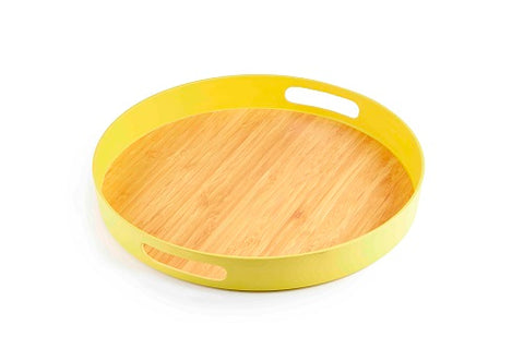 Image of Brilliant - Yellow Colored Bamboo Round Serving Tray, 15 inches