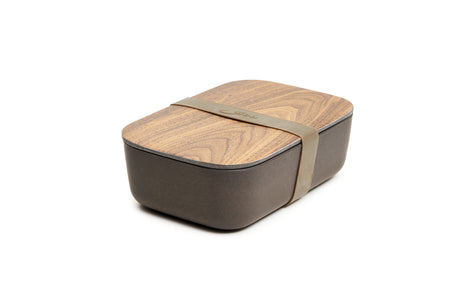 Bamboo Lunch Box, Walnut and Coffee Colored Wooden Bento Box 7.5 X 5 Inches