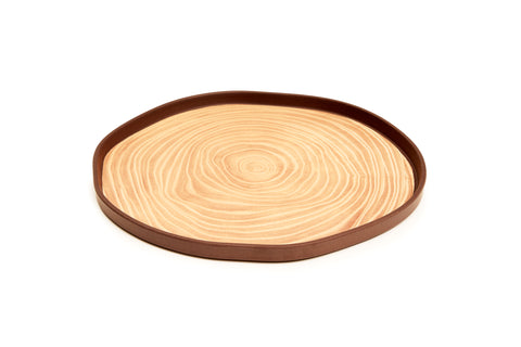 Bark Bamboo Service Plates 12 Inches, Set of 2