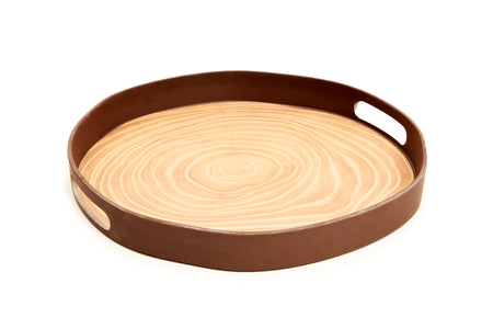 Bark Bamboo Round Serving Tray