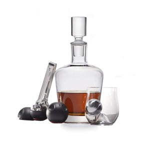 Rox and Roll Whiskey Glasses and Decanter Set, with Ice Balls, Ice Tong and Ice Ball Holders