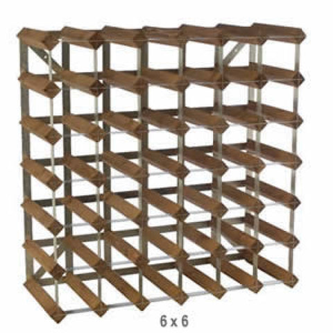 Traditional Assembled 42 Bottle Wine Rack Dark Oak Finish