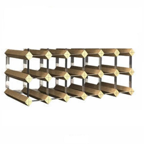 Image of Traditional Assembled 18 Bottle Wine Rack Dark Oak Finish