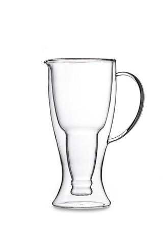 Image of Double Wall Clear Glass Upside Down Beer Bottle Pitcher, 37 Ounces