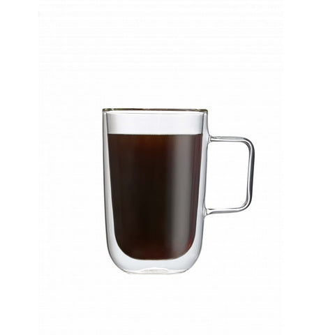 Double Wall Glass Coffee Mug, 11.8 oz. Set of 2, by Brilliant