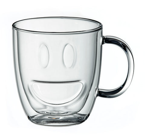 Image of Double Wall Smiley Face Mugs Clear, Set of 2, 11.5 Ounces