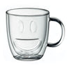 Double Wall Smiley Face Mugs Clear, Set of 2, 11.5 Ounces