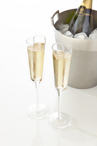 Bubbly Heart Shaped Champagne Glasses on a Tall Stem 5 Ounces, Set of 2