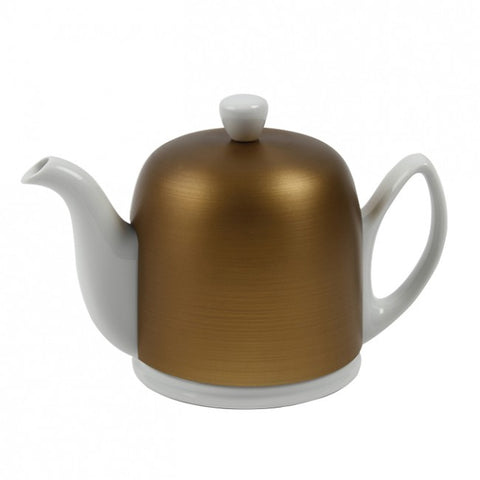 Salam White 6 Cup Teapot with Bronze Cover 33.8oz. By Guy Degrenne