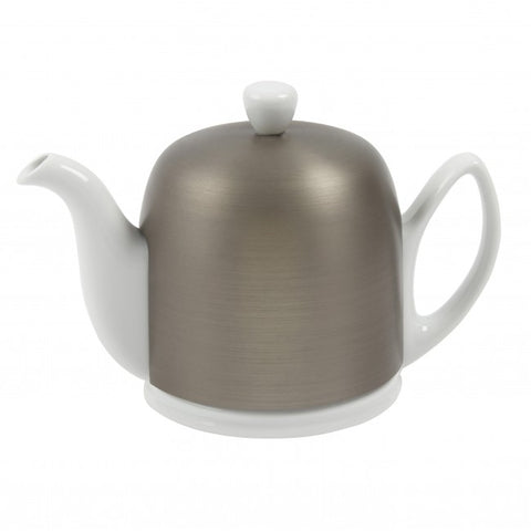 Salam White 6 Cup Teapot with Zinc Cover 33.8oz. By Guy Degrenne