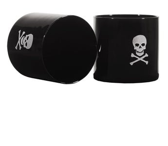 Brilliant - Pirate Skull and Crossbones Old Fashioned Black Drinking Glasses, 9.5 oz. Set of 2