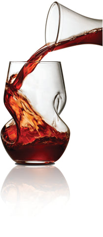 Image of Brilliant - Tourbillon Aerating Twisted Stemless Wine Glasses, 8.oz. Set of 2