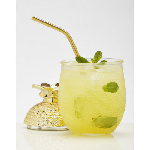 Brilliant - Pineapple Cocktail Glass Cup with Straw and Removable Lid, 15oz. Set of 2