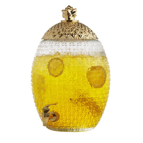 Image of Brilliant - Large Pineapple Glass Beverage Dispenser with Gold Lid and Spout, 10 Liters