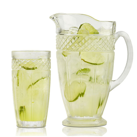 Brilliant - Bavaria Clear Glass Drink Set, Six Drinking Tumblers with a Glass Pitcher