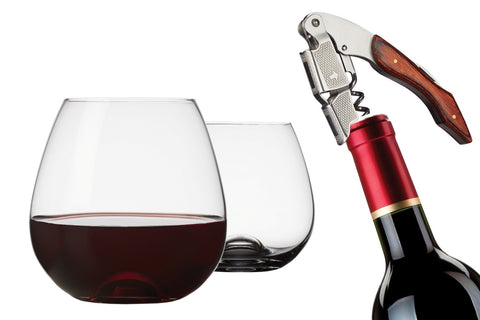 Image of Brilliant - Tandem 3PC Wine Set - 2 Stemless Wine Glasses and a Waiter Corkscrew