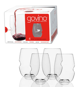 Govino - 16 Ounce Dishwasher Safe Series Stemless Wine Glasses, Set of 4