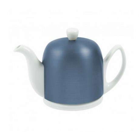 Salam White 4 Cup Teapot with Cobalt Cover 24oz. By Guy Degrenne