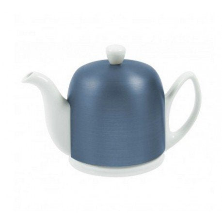 Guy Degrenne Salam White 6 Cup Teapot with Cobalt Cover, 36 oz.