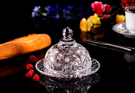 PINWHEEL ROUND BUTTER DISH SET OF 2 Lead Crystal