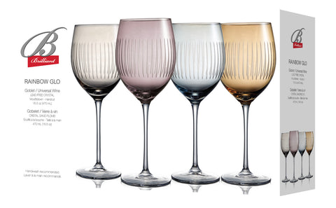 Rainbow Glow Colored Wine Glasses with Stems 16 Ounces, Set of 4