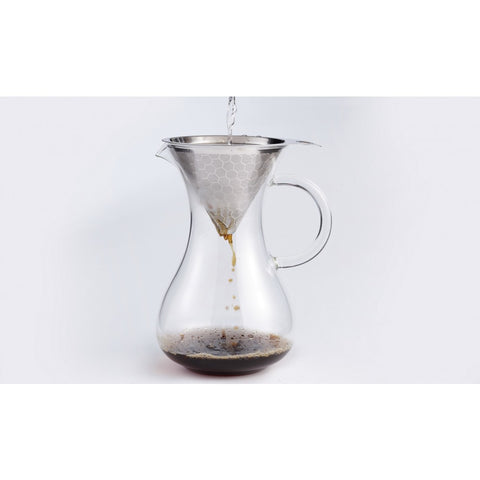Image of Drip Coffee Maker Glass Carafe with Pour Over Stainless Steel Drip Coffee Paperless Filter