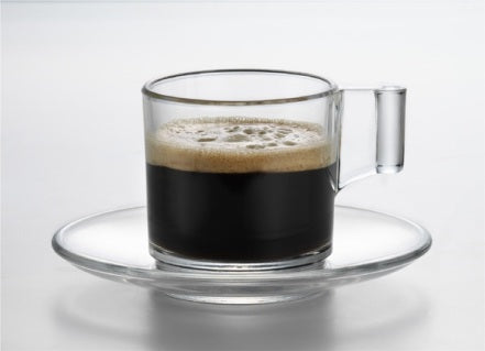 Eisch Breathable Superior Espresso Glass and Saucer Set of 2