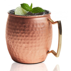 Brilliant - Copper Hammered Belly Shape Moscow Mule Mug, 20oz.