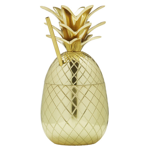 Image of Brilliant - Brass Pineapple Cocktail Cup with Straw, 10 oz