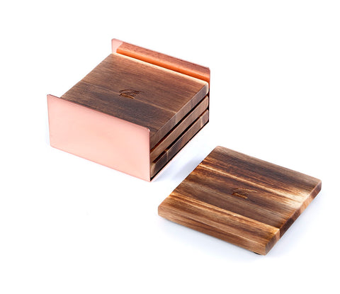 Acacia Square Wooden Coasters for Drinks with a Metal Coaster Holder, Set of 4